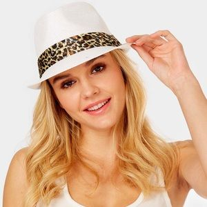 Accessories - Animal Print Band Summer Straw Fedora Hat